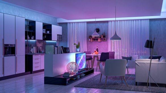 Modern Living room with colored led light